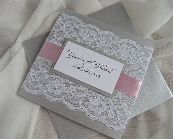 Rustic Wedding Invitation Pink Wedding Invitation Grey by JRTDaisy