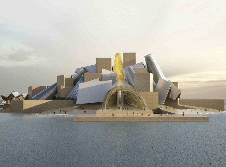A rendering of the Guggenheim Abu Dhabi museum, designed by Frank Gehry, on Saadiyat Island