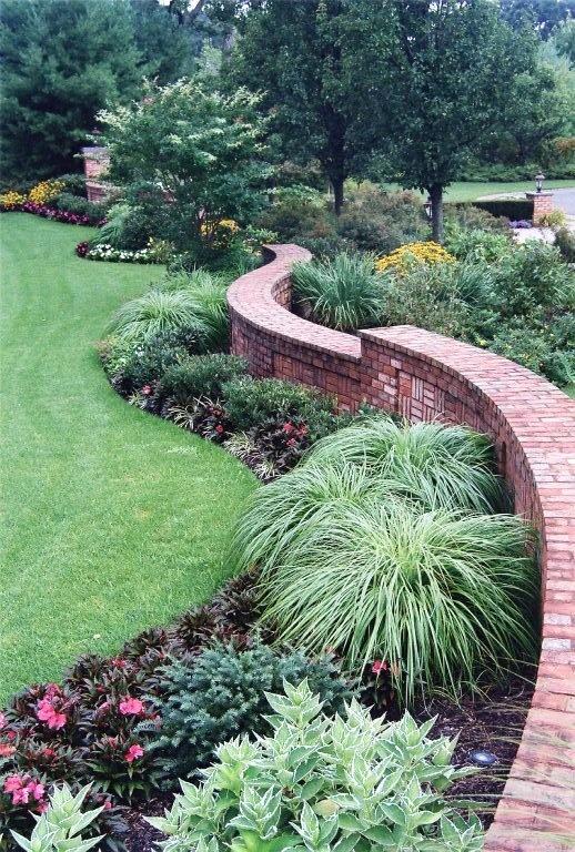 Custom Curved Brick Front Wall Elegant Entry Redbud 640 x 480