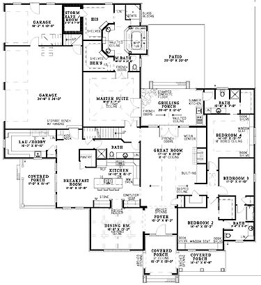 Floor plans aflfpw12786 1 story french country home with for French country house plans open floor plan