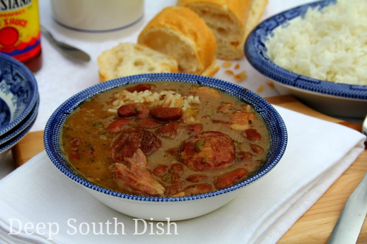 Homemade red kidney beans made with dried beans, and slow stewed with the Trinity, bacon, smoked sausage and a good ham bone or ham hock if you have one, served over hot rice with fresh French bread.