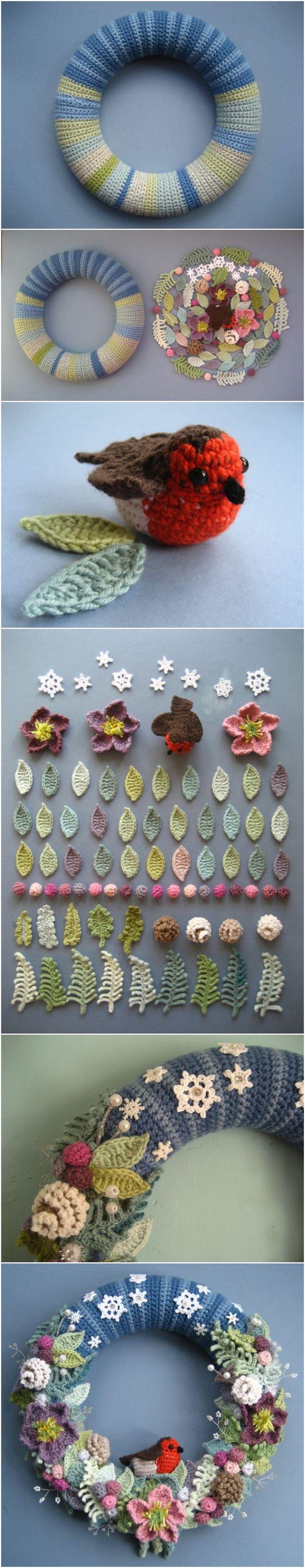 Crochet Beautiful Wreath with Free Pattern