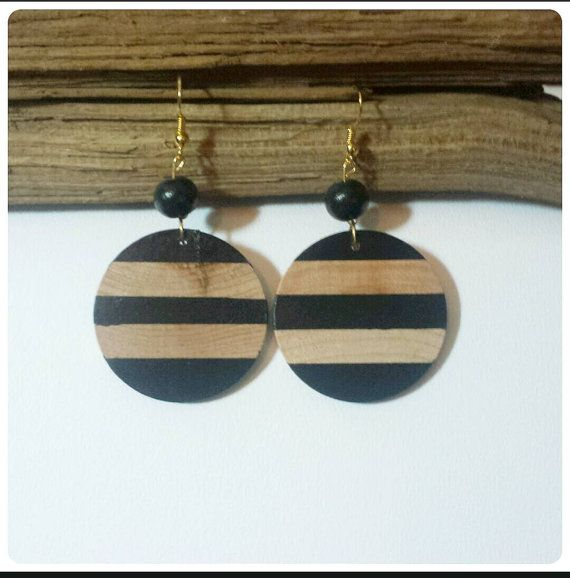 Check out this item in my Etsy shop https://www.etsy.com/listing/212203354/wood-dangle-earrings-black-stripe-double