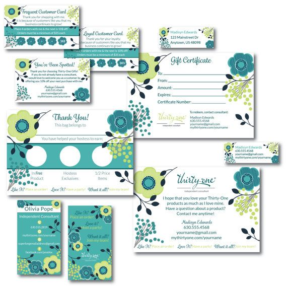 Thirty One Consultant Business Bundle - Fabulous Floral, Customized Business Cards   Address Labels   Catalog Labels   Bag Tags   Gift Certificates   You've Been Spotted   Frequent Shopper Card