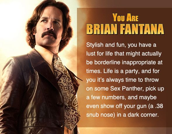 I took Zimbio's 'Anchorman' personality quiz, and I'm Brian Fantana. Who are you? #ZimbioQuiznull - Quiz
