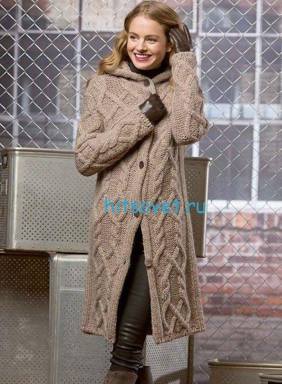 Вязаное пальто с капюшоном - ХитсоветХитсовет