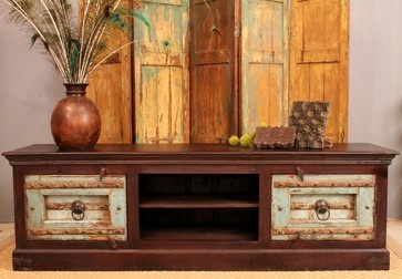 SALE Turquoise Antique Door TV Console - SOLD - eclectic - media storage - Hammer and Hand