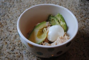 One Hard-Boiled Egg + 1/2 Avocado + Light Tuna. Mashed together like tuna salad. Healthy and FILLING lunch!  Would be good with chicken also.