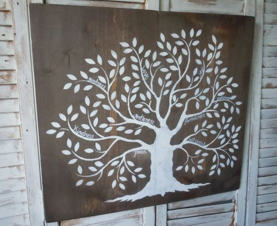 Fruits of the Spirit Tree/Galations 5:22-23/ Wood Art/ distressed/rustic