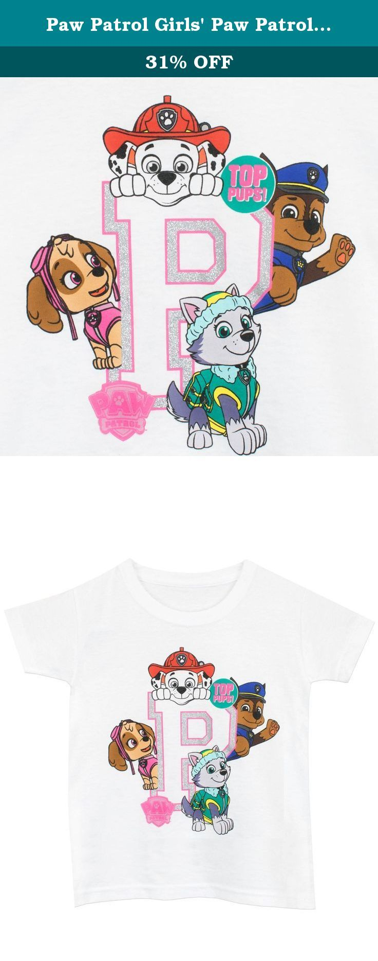 """Paw Patrol Girls' Paw Patrol T-Shirt Size 8. Girls Paw Patrol Shirt. The Paw Patrol is on a roll, and your little one will be too with this paw-some t-shirt! Featuring Chase, Skye, Marshall & Everest on a giant P with the words, """"Top Pups"""", this shirt is a must have for fans of the TV show. This tee can be worn as part of the paw-fect outfit!."""