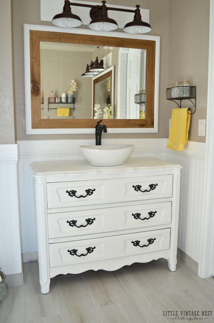 Dresser vanity for bathroom - Old Dresser Turned Bathroom Vanity Tutorial
