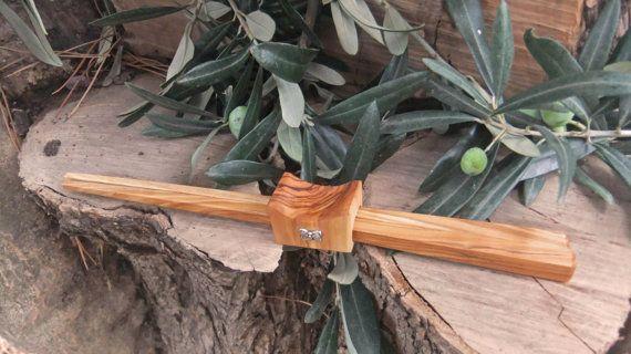 Olive Wood chopstick set with combined holder by ellenisworkshop, $44.00