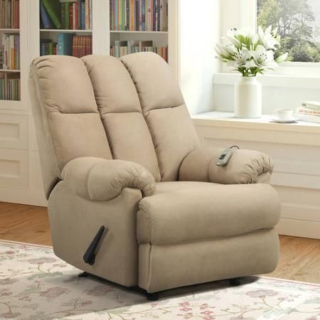 Furniture Rooms Recliner Rocker Massage Chair Padded Rocking Living Tan - Chairs