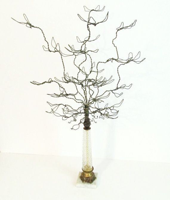 Original Design Wire Tabletop Jewelry Tree/Ornament Display Holder in Repurposed Vintage Cut Glass Lamp Base. via Etsy
