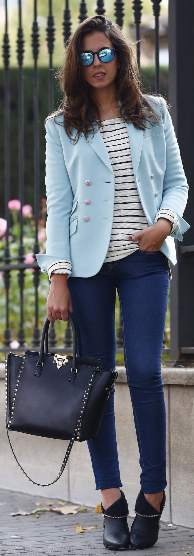 Light Blue Taylor Fitted Blazer. Take away the sun glasses, change the shoes and get rid of that bag