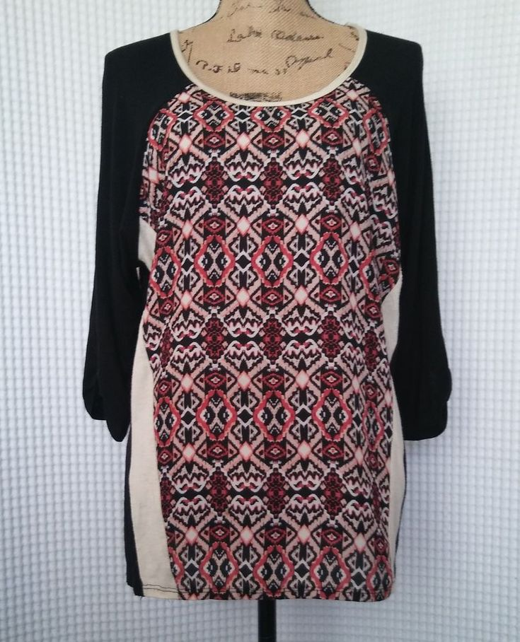 Carol Rose Top Baseball Style Contrast Sleeves Black Aztec Print Sz XL #9506443 #CarolRose #KnitTop #Casual