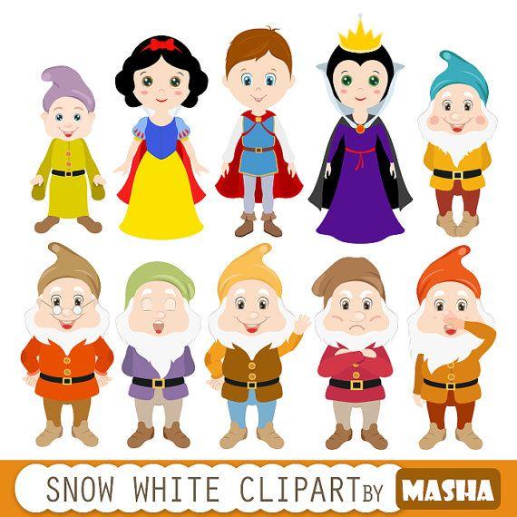 Princess clipart: SNOW WHITE CLIPART with dwarfs by MashaStudio #clipart #scrapbook #snowwhite #princess #dwarfs #invites #children #fairytale #clip #vector #png #graphics  #illustration #etsy