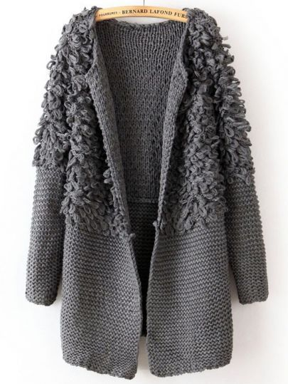 Grey Long Sleeve Contrast Shaggy Sweater