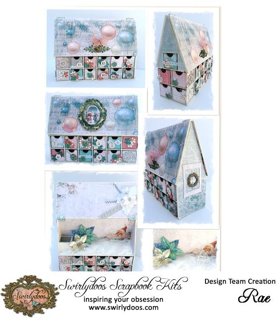 """Swirlydoos Scrapbook Kit Club: Modified Advent Calendar by Rae Using the """"All That Glitters"""" kit"""