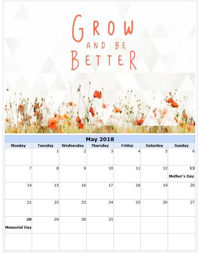 May 2018 Printable Calendar With Inspirational Quotes And Messages