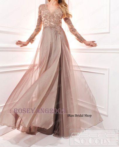 40319157102 Robe De Soirée Longue Rose Poudré Manche Longue