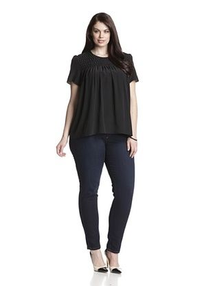 79% OFF Acrobat Women's Plus Pleat-Front Silk Top (Black)