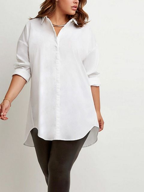 Plus White Shirt: long sleeve, button-up closure, letter print on the back, dipped high low hem.