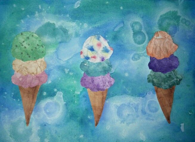 Easy Summer Art Project: Watercolor Ice Cream Cones - watercolor on crumpled paper for ice cream scoops, watercolor on folded paper for Cones, alcohol drips on watercolor for background