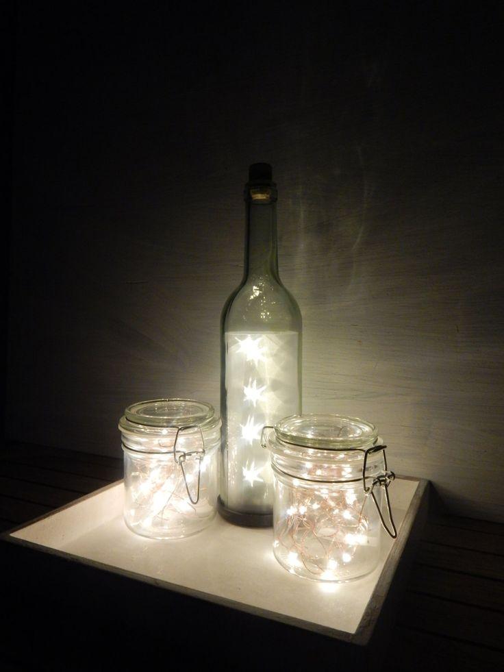 """Set """"Bottiglia di stelle e vasi di luce"""" - Festa di Natale - Avvento - Centrotavola - Matrimonio - Festività natalizie - Home Decor di LUCIDELNORD su Etsy"""
