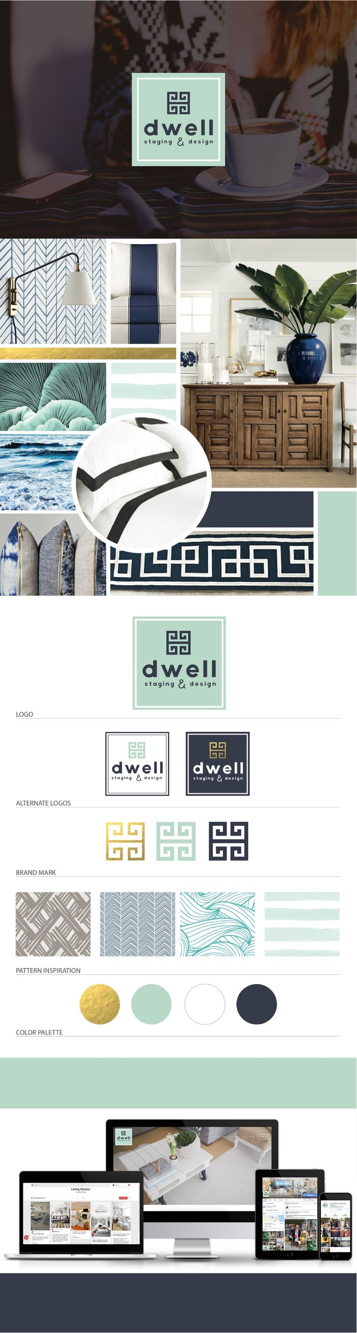 Brand Launch: Dwell Staging & Design - Digital Design Co. | visit: http://www.thedigitaldesignco.com/dwell-client-page to see full mood board, website design, branding guide, logo design, gold foil, logo variations, interior design branding, seafoam green color palette #digitaldesign