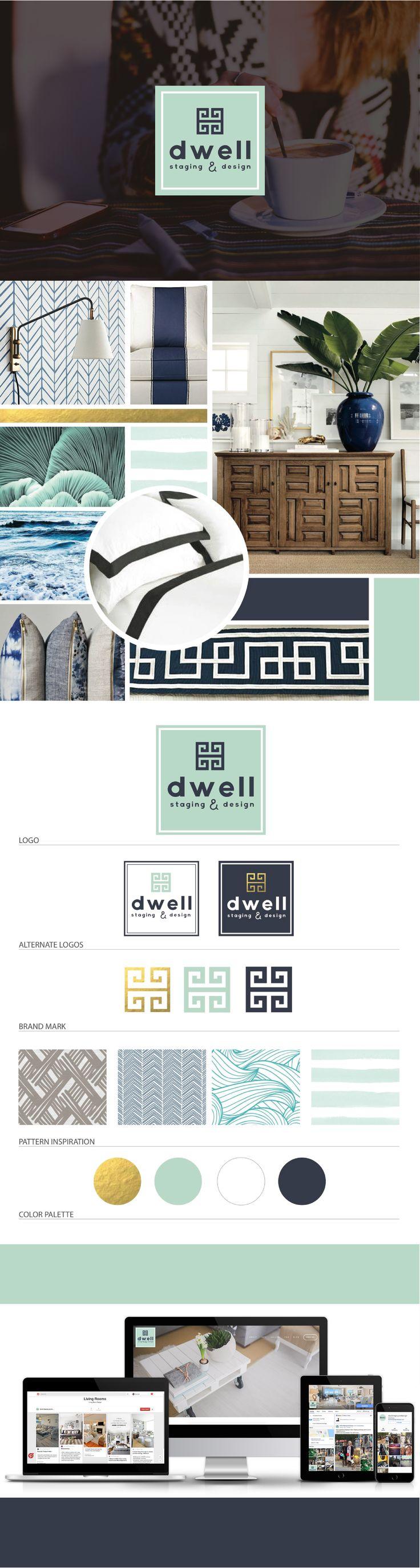 Brand Launch: Dwell Staging & Design - Digital Design Co. | visit: http://www.thedigitaldesignco.com/dwell-client-page to see full mood board, website design, branding guide, logo design, gold foil, logo variations, interior design branding, seafoam green color palette #digitaldesign