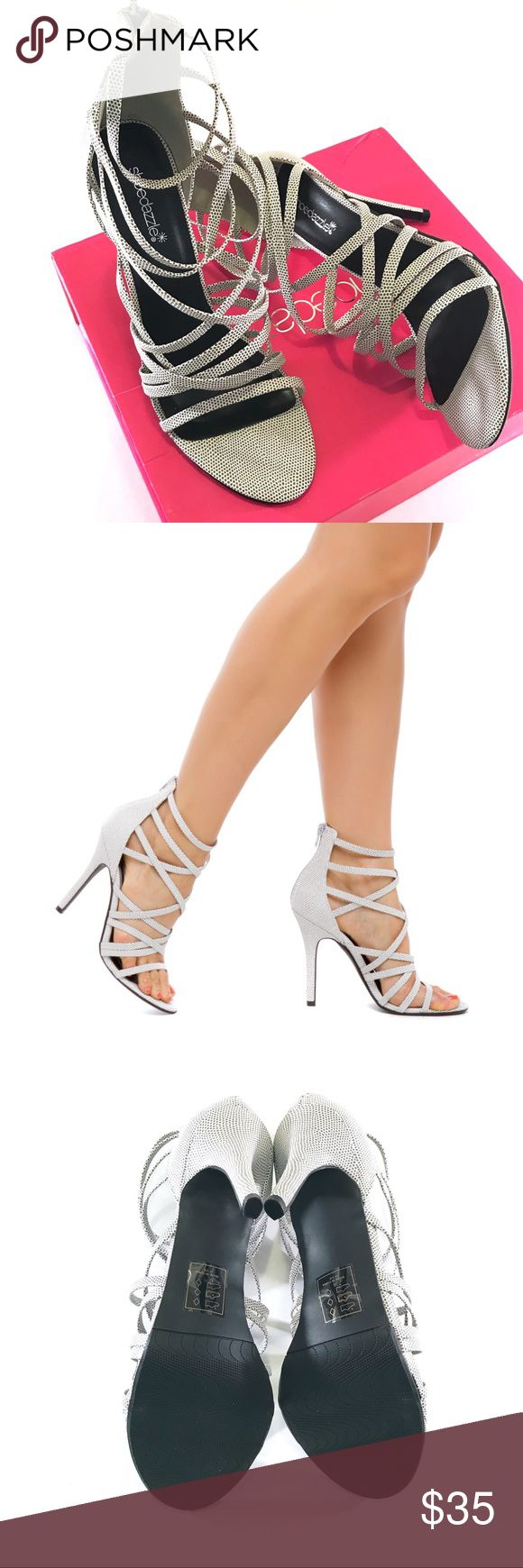 "NIB Shoe Dazzle Karely Strappy Heel Sandal 🔹Heel height: 4.5""  🔹Faux leather 🔹Back zipper 🔹Subtle grey & white pattern Shoe Dazzle Shoes Heels"
