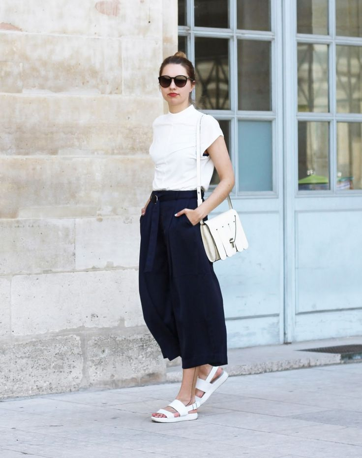 50 Outfits to Copy this Spring 2016 - White shirt paired with navy culottes and chunky platform sandals