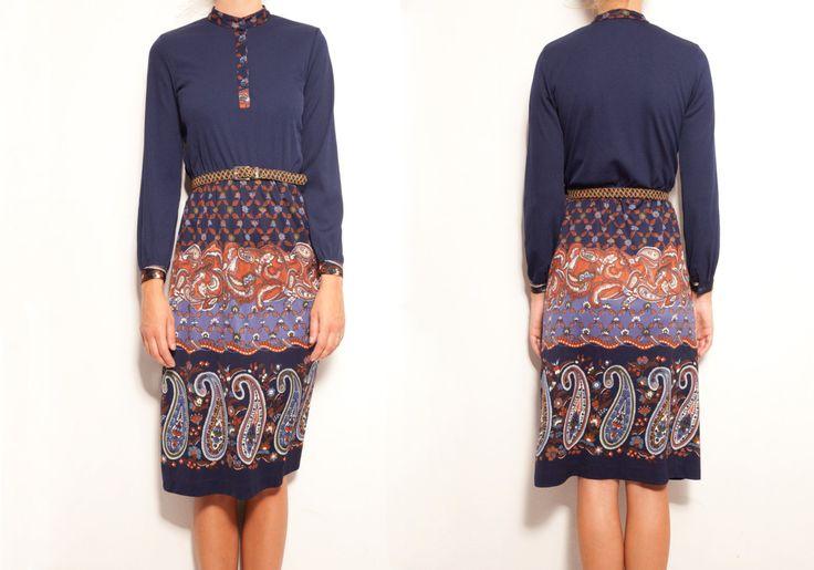Navy Floral Midi | Long sleeve | Monagram print | Aztec | vintage dress | 50's 60's 70's | Japanese vintage | wedding party | bridesmaid by VintageCosmopolitan on Etsy