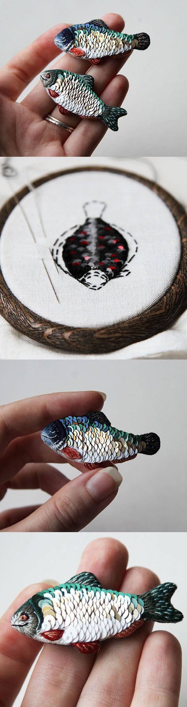Today, I want to introduce you to Svetlana the mastermind behind the miniature embroidery pieces of Eira Teufel. Svetlana lives in Saint Petersburg, Russia, and was kind enough to answer my questions about her work. She embroiders he tiniest animal portraits on little necklaces and t-shirts and makes the cutes shiny fish brooches.   Hi, Svetlana, I'm so glad to have you here! Could you give a short introduction so my readers know who you are? This is the question that always irritates me…