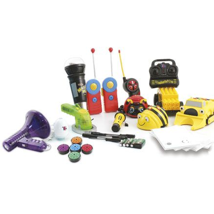 ICT General Collections Box from TTS: Beebots, voice changers, walkie talkies, metal detectors and more.
