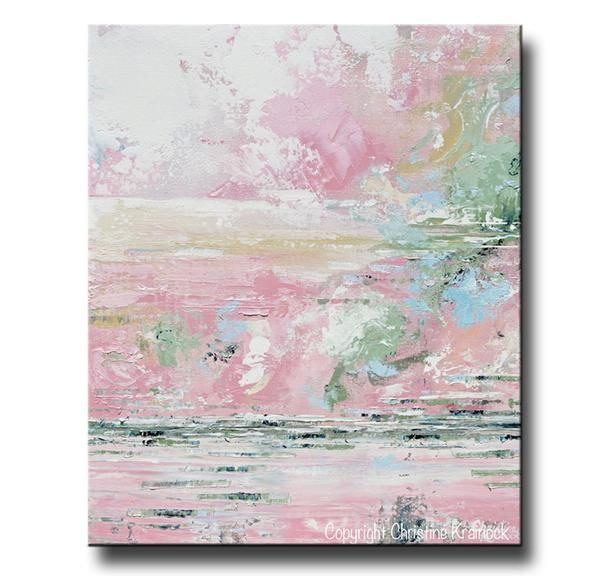 """Joyful Heart"" Canvas Print Fine Art Abstract Painting pastel pink white grey blue cream green modern minimalist coastal home wall decor urban farmhouse girls"