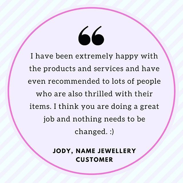 We love hearing from our customers! We are super committed to providing great customer service, a wide range of #jewellery, and unbeatable prices! 💖 thank you Jody for the great #review 👍🏼 #shoppingaddict #fashioninspo #namejewellery #happyshopper