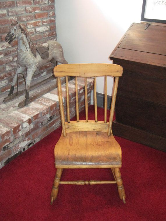 Antique Childrens Wooden Rocking Chair Made in 1800s by Relic189, $ ...