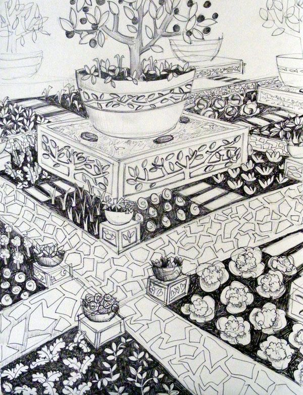 This is one of the sketches I have uploaded for people to colour in - it is a garden design using the cement plinths I have been making - there are examples of the real life things on my website exhibition page http://www.mandyevansartist.com/exhibition.php