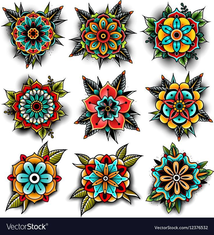 Old school tattoo art flowers for design and decoration. Old school tattoo flowe…