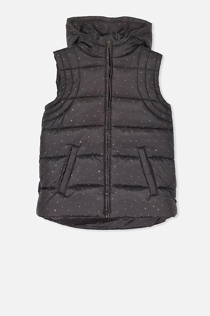 Addison Puffer Vest, BLACK/ROSE GOLD SPOT