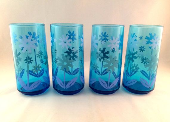 SALE  Blue Drinking Glasses with Flower by Milehighvintage303