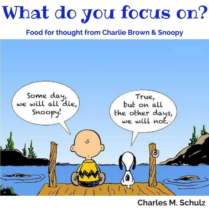 We love Charlie Brown! Charles Schulz shares an interesting conversation here. What do you focus on?