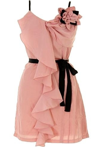 Romantic Cascade Dress: Features fully adjustable spaghetti straps supporting a gorgeously gathered bodice, elaborate corsage applique to the left with noir contrast for pop, layered ruffle trim cascading from right bodice to hem, and a stunning contrast ribbon belt to finish.Fashion Boutique, Pink Flower, Pretty Pink, Romantic Cascading, Cascading Dresses, Romantic Dresses, Cute Bridesmaid Dresses, Black, Belts