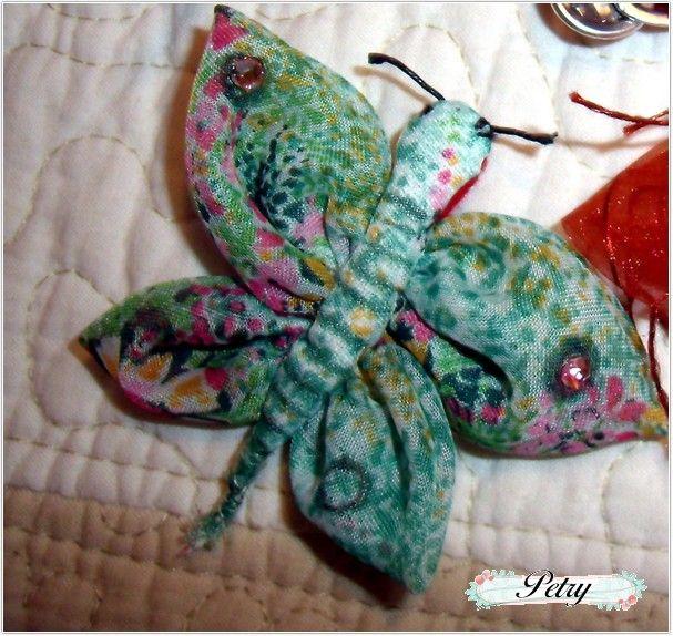 Broche tela mariposa.  www.petry.es