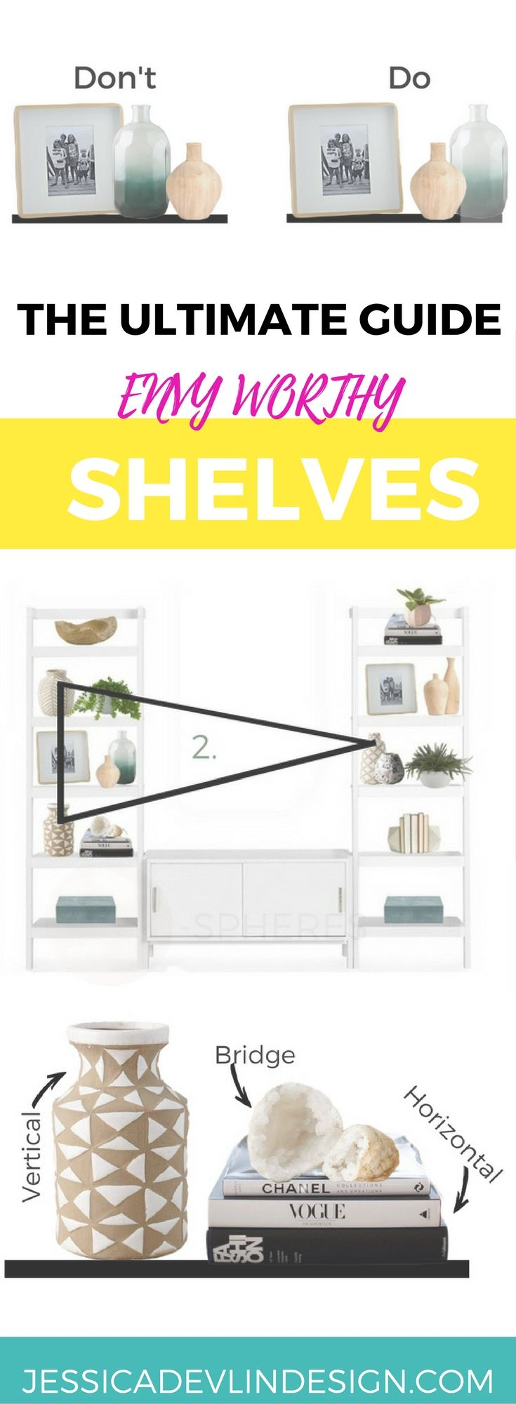 Click for Seriously amazing Fool proof hacks to take the guess work out of bookshelves styling. This post makes it EASY to master your bookshelf decorating. Give your bookshelf a makeover!