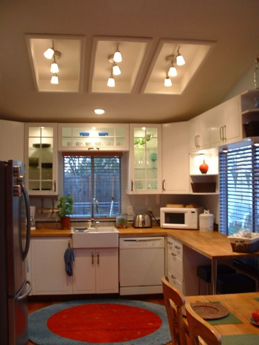 remodel flourescent light box in kitchen | ... light fixtures in the old fluorescent light boxes. What do you think