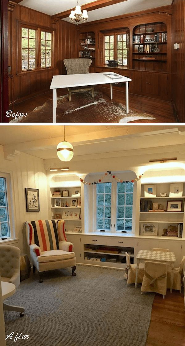 dark-paneled-den-before-and-after-benjamin-moore-white-dove