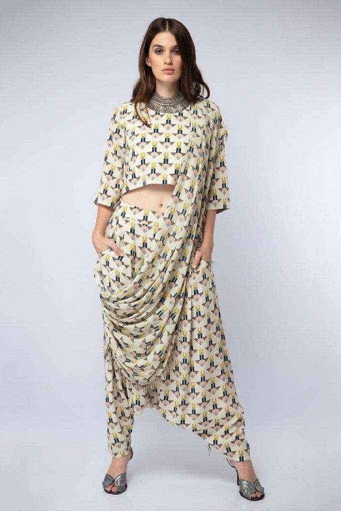 1e2c1d458eb70 Arrow Print Crop Top with Dhoti Pants – Studio East6